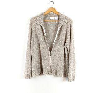 Croft & Barrow Soft Fuzzy Multi Color Zip Sweater